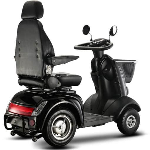 zwarte q1000 scootmobiel met mandje en luxe stoel