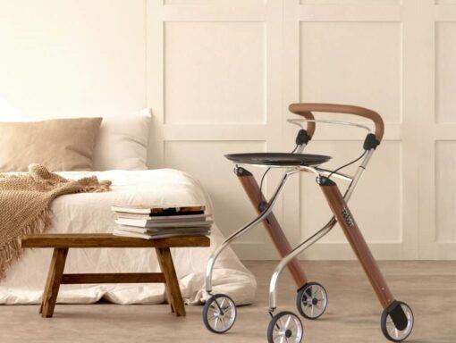 Lets Go walnut Indoor Rollator wooded walker right 1024x771 1